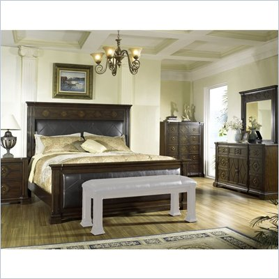 Somerton Villa Madrid Bicast Leather Panel Bed 6 Piece Bedroom Set