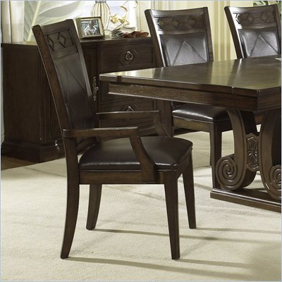 Somerton Villa Madrid Leather Dining Arm Chair in Dusk Brown Finish