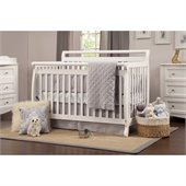 DaVinci Emily 4-in-1 Convertible Wood Baby Crib w/ Toddler Rail in White