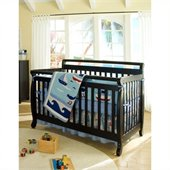 DaVinci Emily 4-in-1 Wood Baby Crib w/ Full/Twin Size Bed Rail Set in Ebony