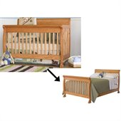 DaVinci Kalani 4-in-1 Convertible Crib Set w/ Full/Twin Size Rail in Honey Oak