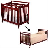 DaVinci Emily Mini 2-in-1Convertible Crib Set w/ Twin Size Bed Rail in Cherry