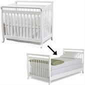 DaVinci Emily Mini Convertible Wood Baby Crib Set w/ Twin Size Bed Rail in White