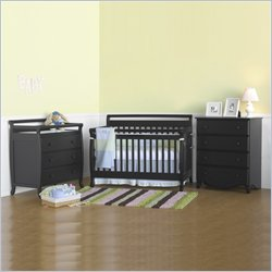 DaVinci Emily 4-in-1 3-PCs Convertible Wood Baby Ebony Crib Set
