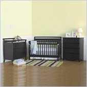 DaVinci Emily 4-in-1 3-PCs Convertible Wood Baby Ebony Crib Set w/ Toddler Rail