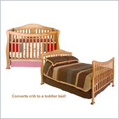 DaVinci Parker 4-in-1 Convertible Wood Crib Set w/ Full Size Bed Rail Kit in Oak
