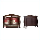 DaVinci Parker 4-in-1 Convertible Wood Crib Set w/ Toddler Rail in Coffee