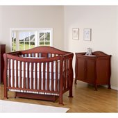 DaVinci Parker 4-in-1 Convertible Wood Crib Set w/ Toddler Rail in Cherry