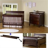 DaVinci Kalani 4-in-1 Convertible Crib Set w/ Toddler Rail in Espresso