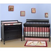 DaVinci Kalani 4-in-1 Convertible Wood Crib Nursery Set w/ Toddler Rail in Ebony