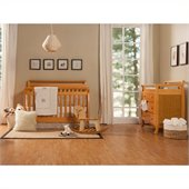 DaVinci Emily 4-in-1 Convertible Crib Nursery Set w/ Toddler Rail in Honey Oak