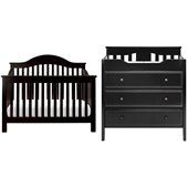 DaVinci Jayden 4-in-1 Convertible Wood Baby Crib Set w/ Toddler Rail in Ebony