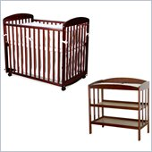DaVinci Alpha Mini Rocking Wood Baby Crib Set in Cherry Finish
