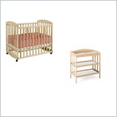 DaVinci Alpha Mini Rocking Mobile Wood Baby Crib Set With Changing Table in Natural