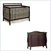 DaVinci Charleston 4-in-1 Convertible Wood Crib Set w/ Toddler Rail in Coffee