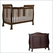 DaVinci Reagan 4-in-1 Convertible Crib Nursery Set w/ Toddler Rail in Coffee