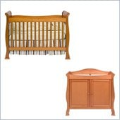 DaVinci Reagan 4-in-1 Convertible Wood Crib Nursery Set w/ Toddler Rail in Oak