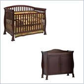 DaVinci Thompson 4-in-1 Convertible Wood Crib Set w/ Toddler Rail in Coffee