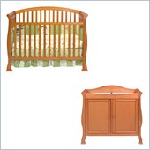 Da Vinci Thompson 4-in-1 Convertible Wood Crib Nursery Set w/ Toddler Rail in Oak