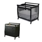 DaVinci Emily Mini 2-in-1 Convertible Wood Baby Crib Set With Changing Table in Ebony