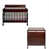 DaVinci Kalani 4-in-1 Convertible Wood Baby Crib Set w/ Toddler Rail in Espresso