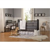 DaVinci Jenny Lind 3-in-1 Stationary Convertible Wood Crib Nursery Set in Ebony