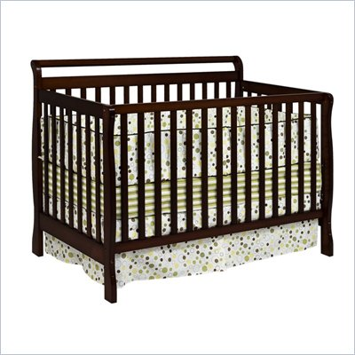 Da Vinci Charleston 4-in-1 Convertible Wood Crib w/ Toddler Rail in Coffee