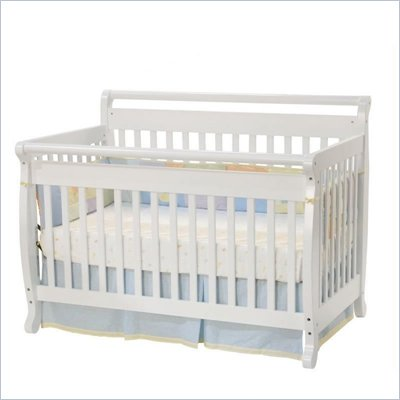 Da Vinci Emily 4-in-1 Convertible Wood Baby Crib Set w/ Toddler Rail in White 