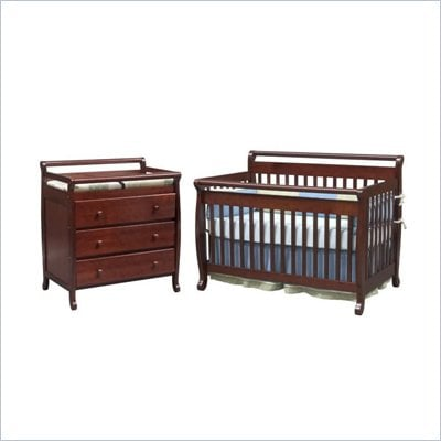 DaVinci Emily 4-in-1 Convertible Wood Baby Cherry Crib Set w/ Toddler Rail