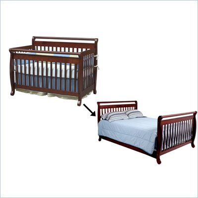 DaVinci Emily 4-in-1 Convertible Crib w/ Full/Twin Size Bed Rail Set in Cherry