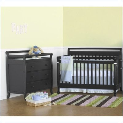 DaVinci Emily 4-in-1 Convertible Wood Baby Crib Set w/ Toddler Rail in Ebony