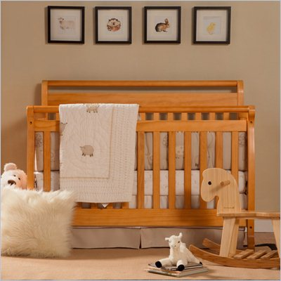 DaVinci Emily 4-in-1 Convertible Wood Baby Crib w/ Toddler Rail in Honey Oak
