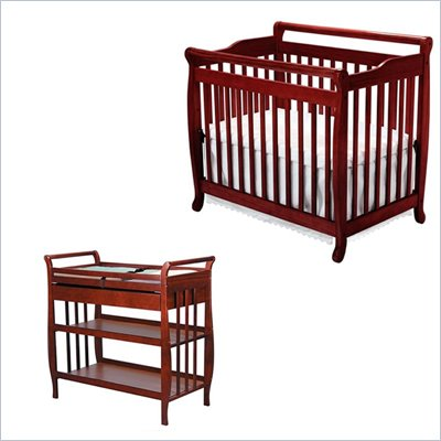 DaVinci Emily Mini 2-in-1 Convertible Wood Baby Crib Set With Changing Table in Cherry