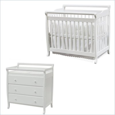 DaVinci Emily Mini 2-in-1 Convertible Wood Baby Crib Set With Changing Table in White