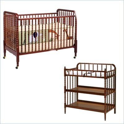 DaVinci Jenny Lind 3-in-1 Stationary Convertible Mobile Wood Crib Set in Cherry
