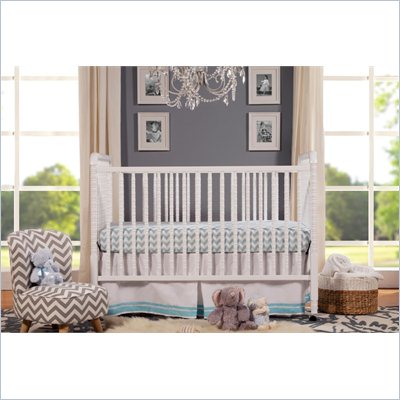 DaVinci Jenny Lind 3-in-1 Stationary Convertible Mobile Wood Crib in White