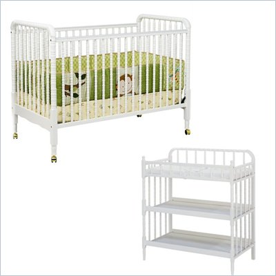 DaVinci Jenny Lind 3-in-1 Stationary Convertible Mobile Wood Crib Set in White