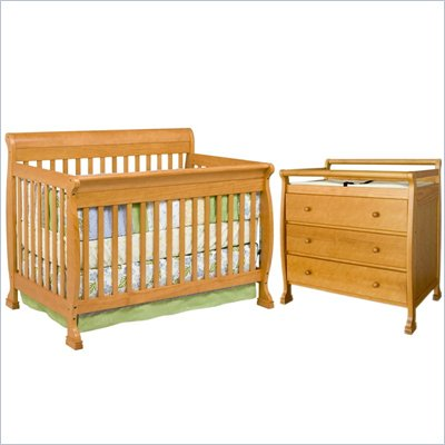DaVinci Kalani 4-in-1 Convertible Crib Nursery Set w/ Toddler Rail in Honey Oak