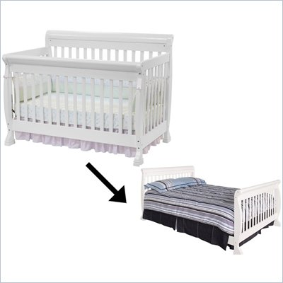 DaVinci Kalani 4-in-1 Convertible Crib Set w/ Full/Twin Size Bed Rail in White