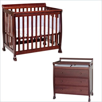 DaVinci Kalani Convertible Mini Wood Crib Set With Changing Table in Cherry
