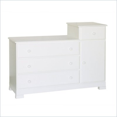 DaVinci Kalani Wood 4 Drawer Combo Chest With Shelf in White Finish