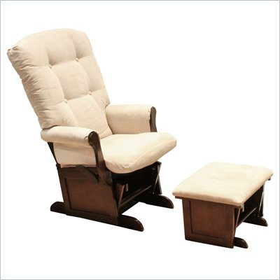 Da Vinci Sleigh Multiposition Lock Glider and Ottoman in Espresso