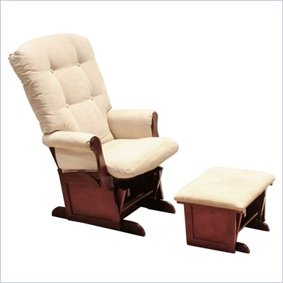 Da Vinci Sleigh Multiposition Lock Glider and Ottoman in Cherry