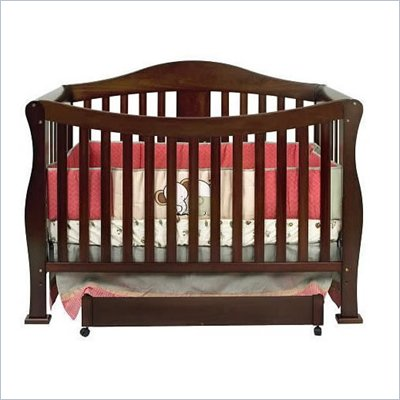 DaVinci Parker 4-in-1 Convertible Wood Baby Crib w/ Toddler Rail in Coffee