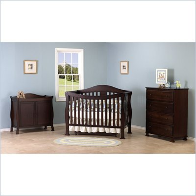 DaVinci Parker 3-PC Convertible Crib Nursery Set w/ Toddler Rail in Coffee