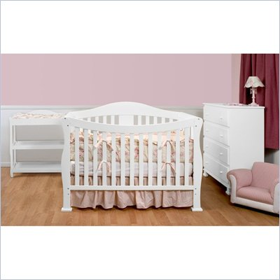 DaVinci Parker 3-PC Convertible Crib Nursery Set w/ Toddler Rail in White