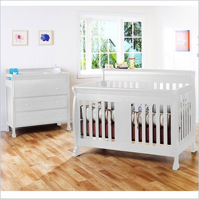 DaVinci Porter 4-in-1 convertible Crib Crib and 3-drawer Change in White Including Toddler Rails