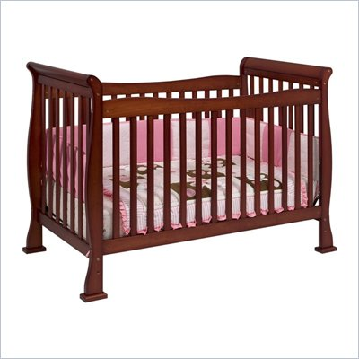 Da Vinci Reagan 4-in-1 Convertible Wood Crib w/ Toddler Rail in Cherry
