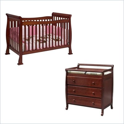 DaVinci Reagan 4-in-1 Convertible Crib Nursery Set w/ Toddler Rail in Cherry