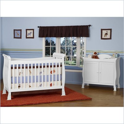 DaVinci Reagan 4-in-1 Convertible Wood Crib Set w/ Toddler Rail in White